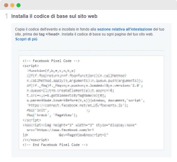 Codice Esempio Facebook Pixel